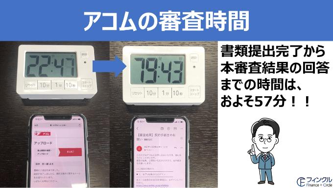 フィンクル編集長田中がアコムに申し込んだときの審査時間