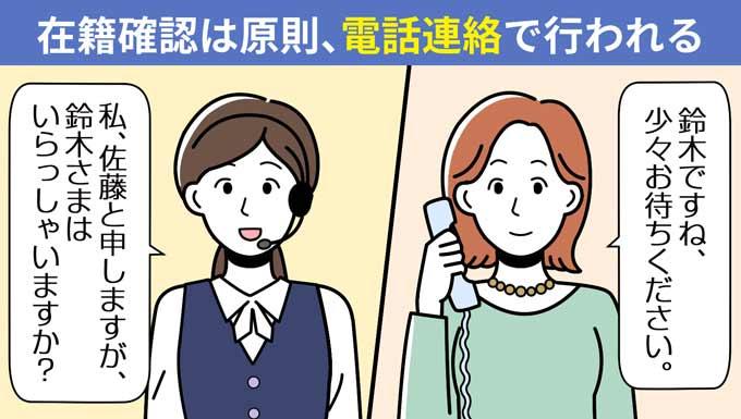 在籍確認は原則電話連絡で行われる