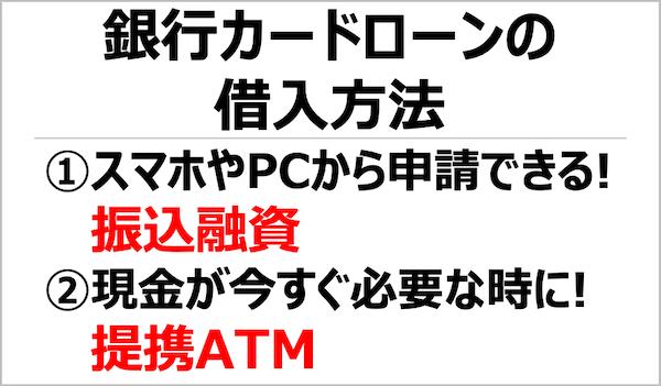 銀行カードローンの借入方法は振込融資か提携ATMでキャッシングか選べる