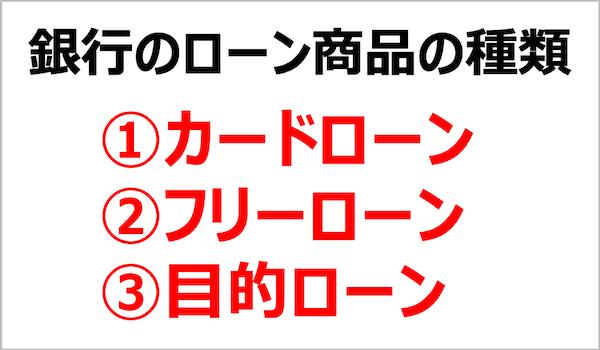 銀行のローン商品の種類3つ