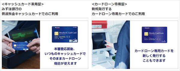 みずほ銀行カードローンのキャッシュカード兼用型とカードローン専用型のカード券面